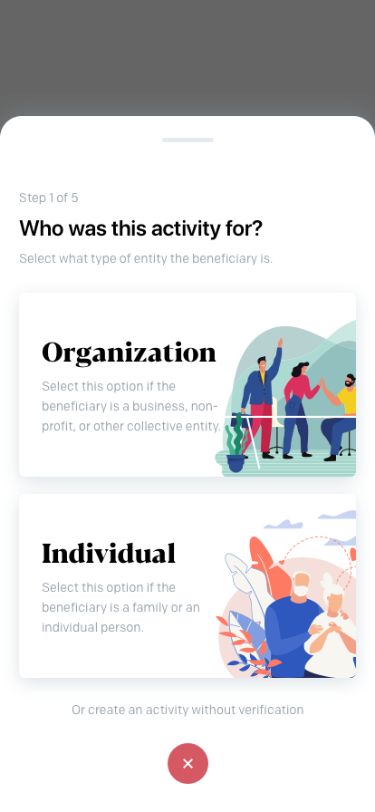Create Activity (Select Type)